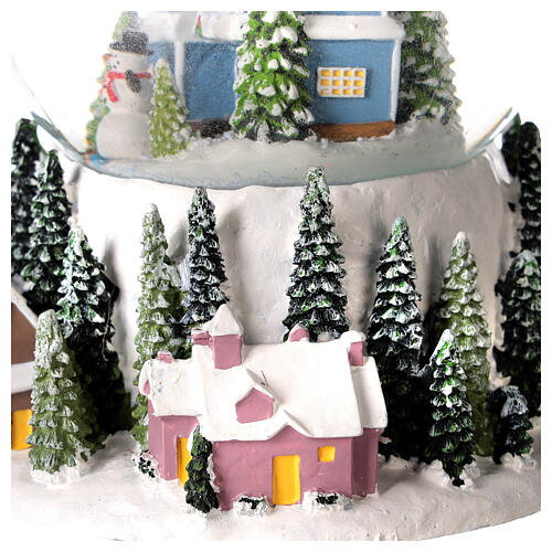 Musical snow globe snowy house blue tree 15x10x10 cm 4