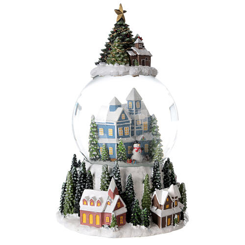 Musical snow globe snowy house blue tree 15x10x10 cm 5
