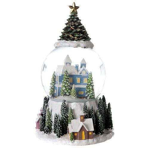 Musical snow globe snowy house blue tree 15x10x10 cm 7