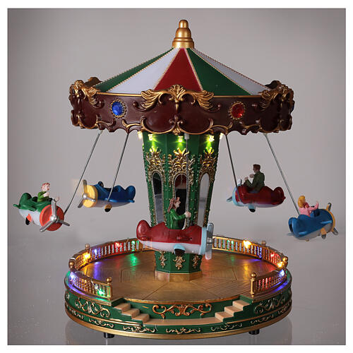 Rotating carousel Christmas village with lights and music 25x20x20 cm 2
