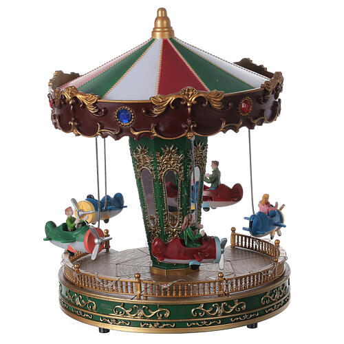 Rotating carousel Christmas village with lights and music 25x20x20 cm 6