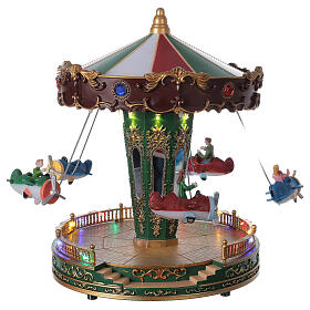 Rotating carousel Christmas village with lights and music 25x20x20 cm s1