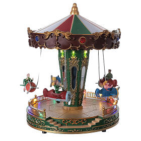Rotating carousel Christmas village with lights and music 25x20x20 cm s3