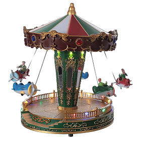 Rotating carousel Christmas village with lights and music 25x20x20 cm s4