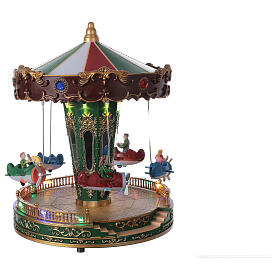 Rotating carousel Christmas village with lights and music 25x20x20 cm s5