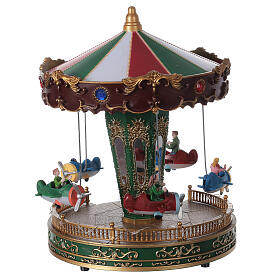 Rotating carousel Christmas village with lights and music 25x20x20 cm s6