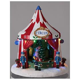 Villaggio Natale Circo luci musica batteria 25x20x20 cm s2