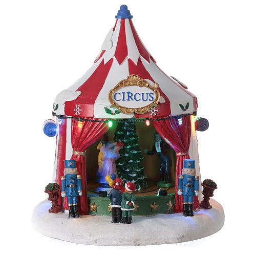 Villaggio Natale Circo luci musica batteria 25x20x20 cm 1