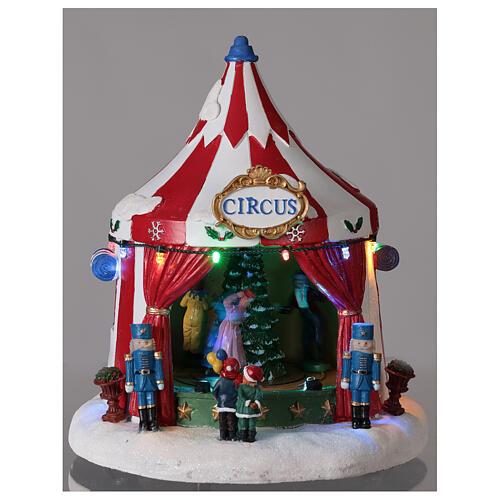 Villaggio Natale Circo luci musica batteria 25x20x20 cm 2
