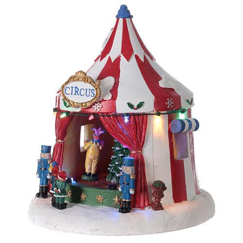 Villaggio Natale Circo luci musica batteria 25x20x20 cm 3