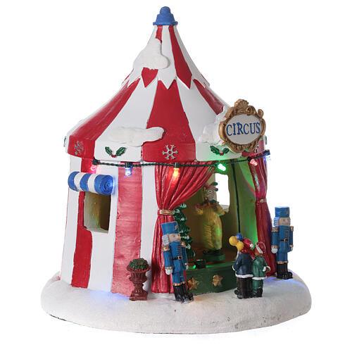 Villaggio Natale Circo luci musica batteria 25x20x20 cm 4