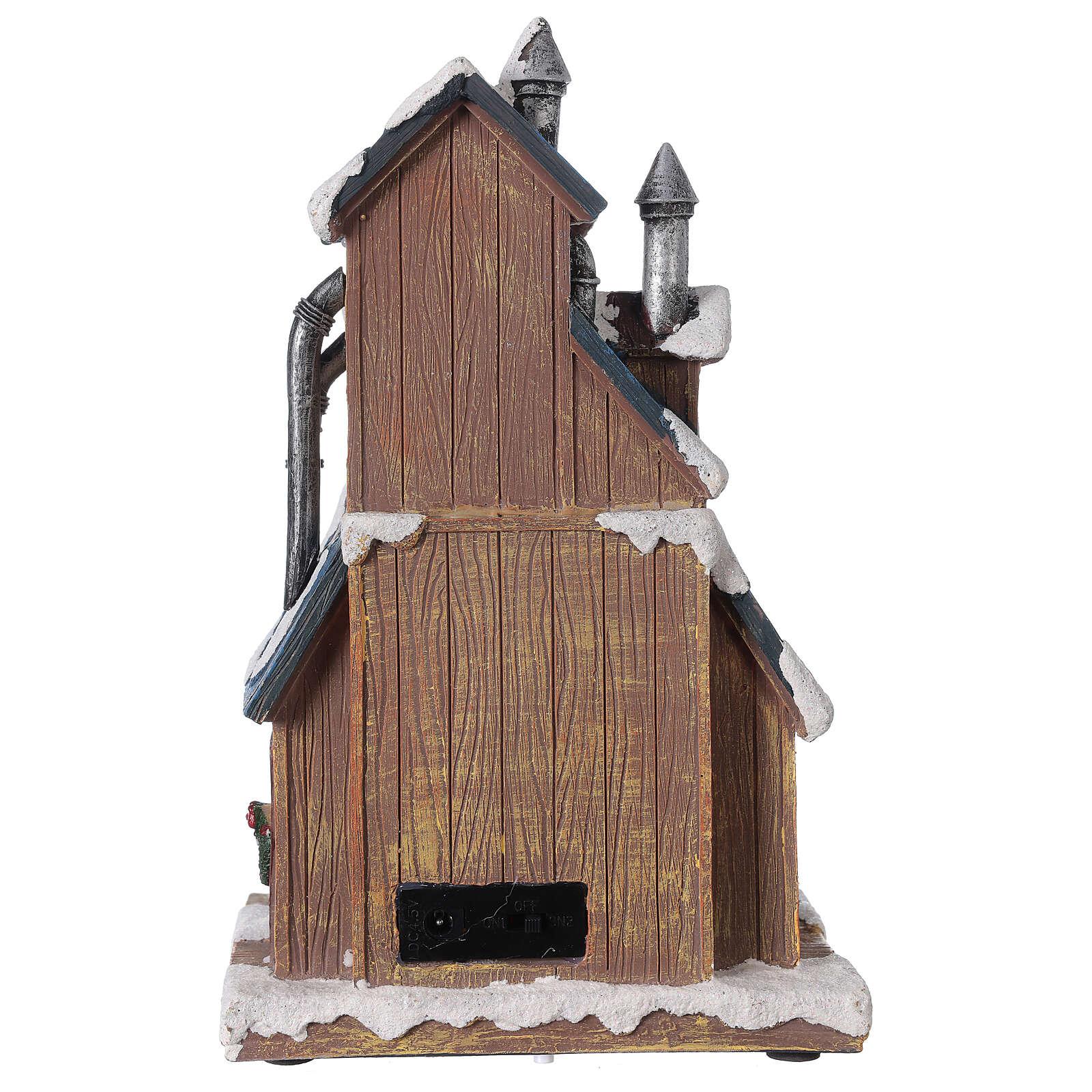Villaggio fabbrica Babbo Natale luci musica 30x20x15 cm 3