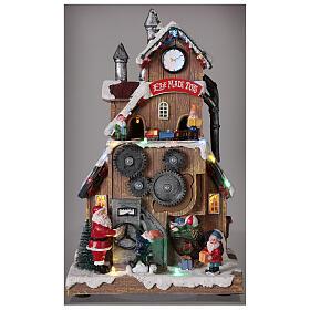 Villaggio fabbrica Babbo Natale luci musica 30x20x15 cm s2