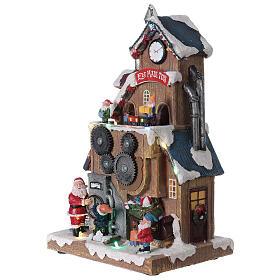 Villaggio fabbrica Babbo Natale luci musica 30x20x15 cm s3