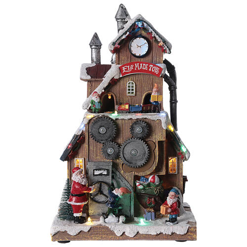 Villaggio fabbrica Babbo Natale luci musica 30x20x15 cm 1