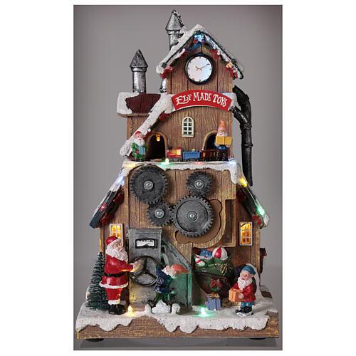 Villaggio fabbrica Babbo Natale luci musica 30x20x15 cm 2