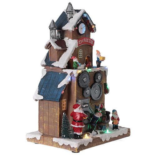 Villaggio fabbrica Babbo Natale luci musica 30x20x15 cm 4