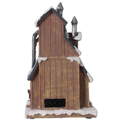 Villaggio fabbrica Babbo Natale luci musica 30x20x15 cm 5