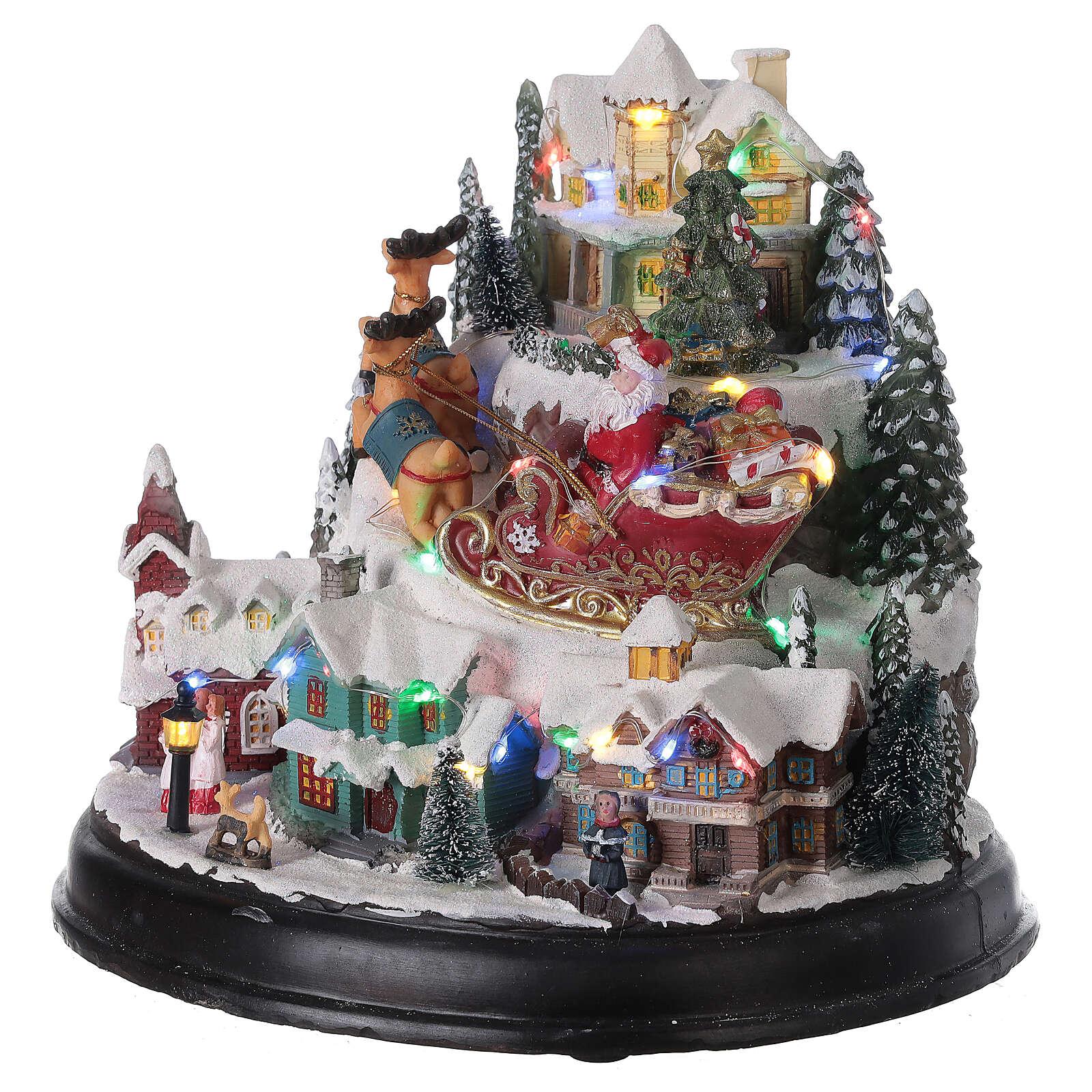 Villaggio Natale Albero slitta Babbo Natale luci musica 25x30x25 cm 3