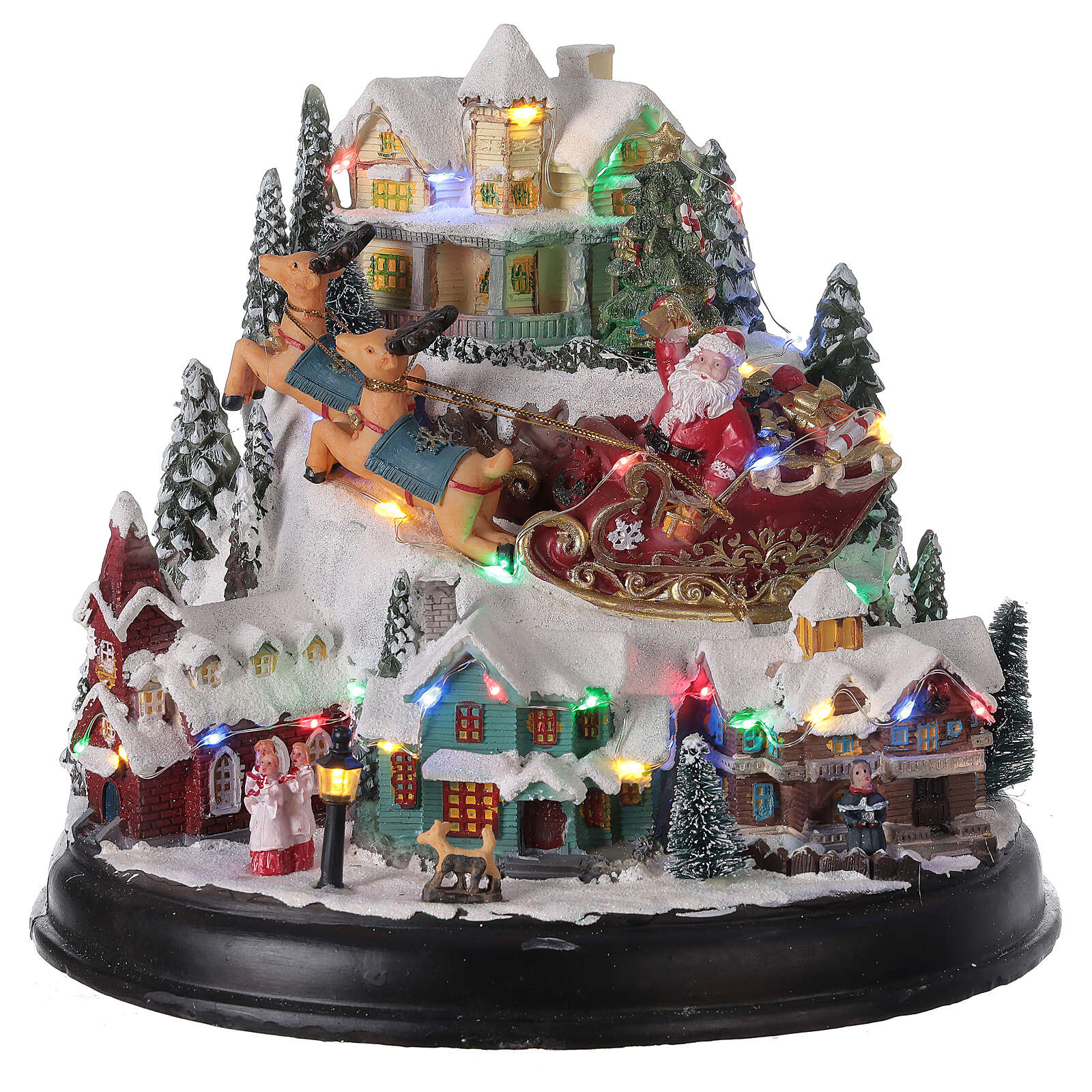 Aldeia de Natal em miniatura com árvore, Pai Natal no trenó, luzes e música, 24,5x28x24 cm 3