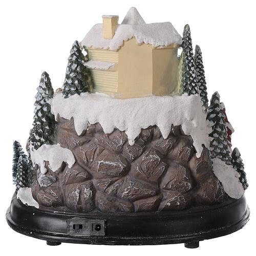 Aldeia de Natal em miniatura com árvore, Pai Natal no trenó, luzes e música, 24,5x28x24 cm 5