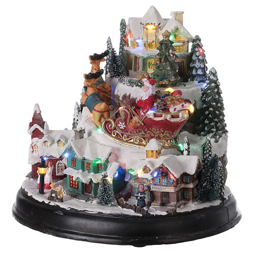 Christmas village Santa sleigh trees lights music 25x30x25 cm 3
