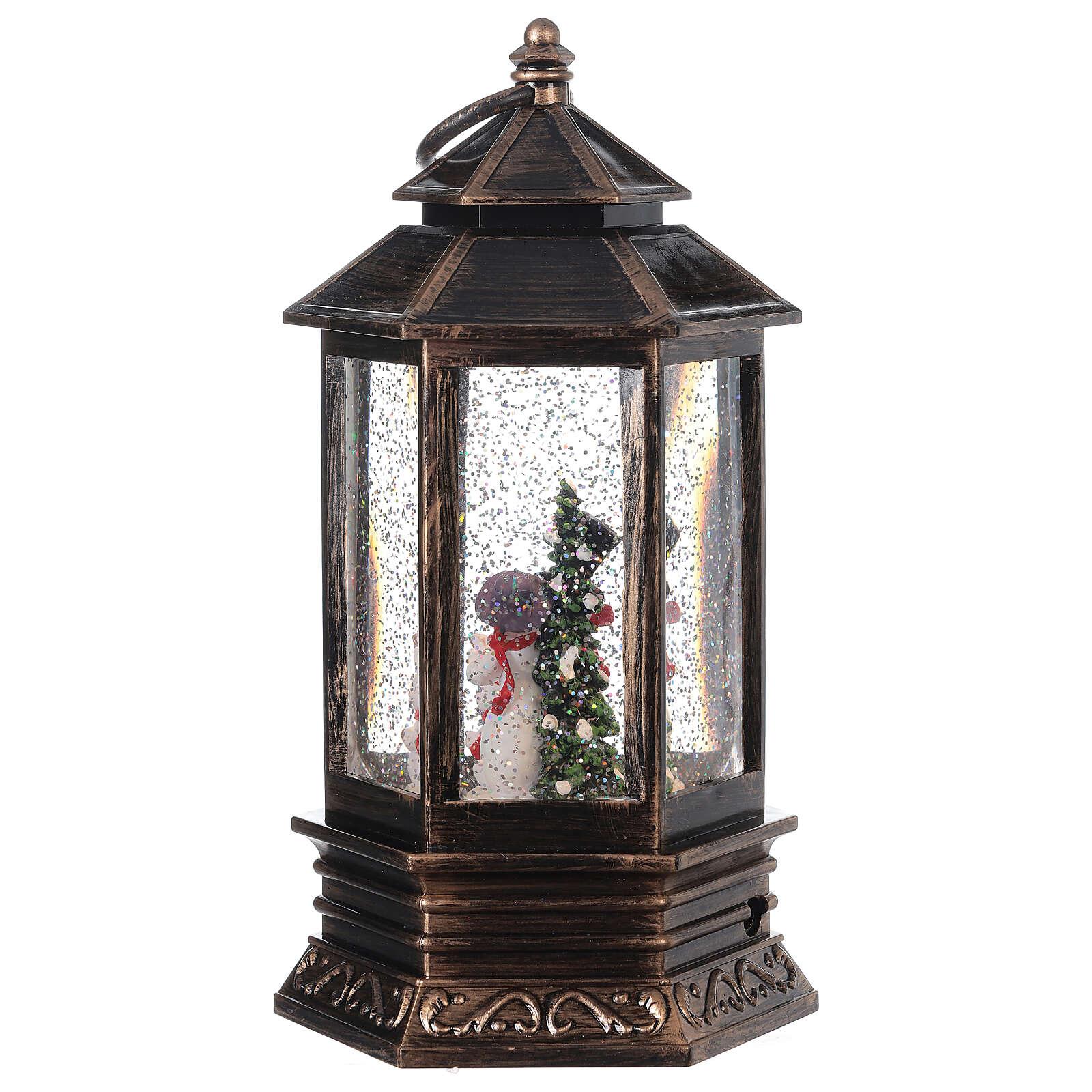 Snow globe bronze lantern snowman family 25x15x15 cm 3