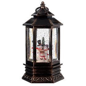 Snow globe bronze lantern snowman family 25x15x15 cm s1