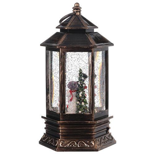 Snow globe bronze lantern snowman family 25x15x15 cm 5