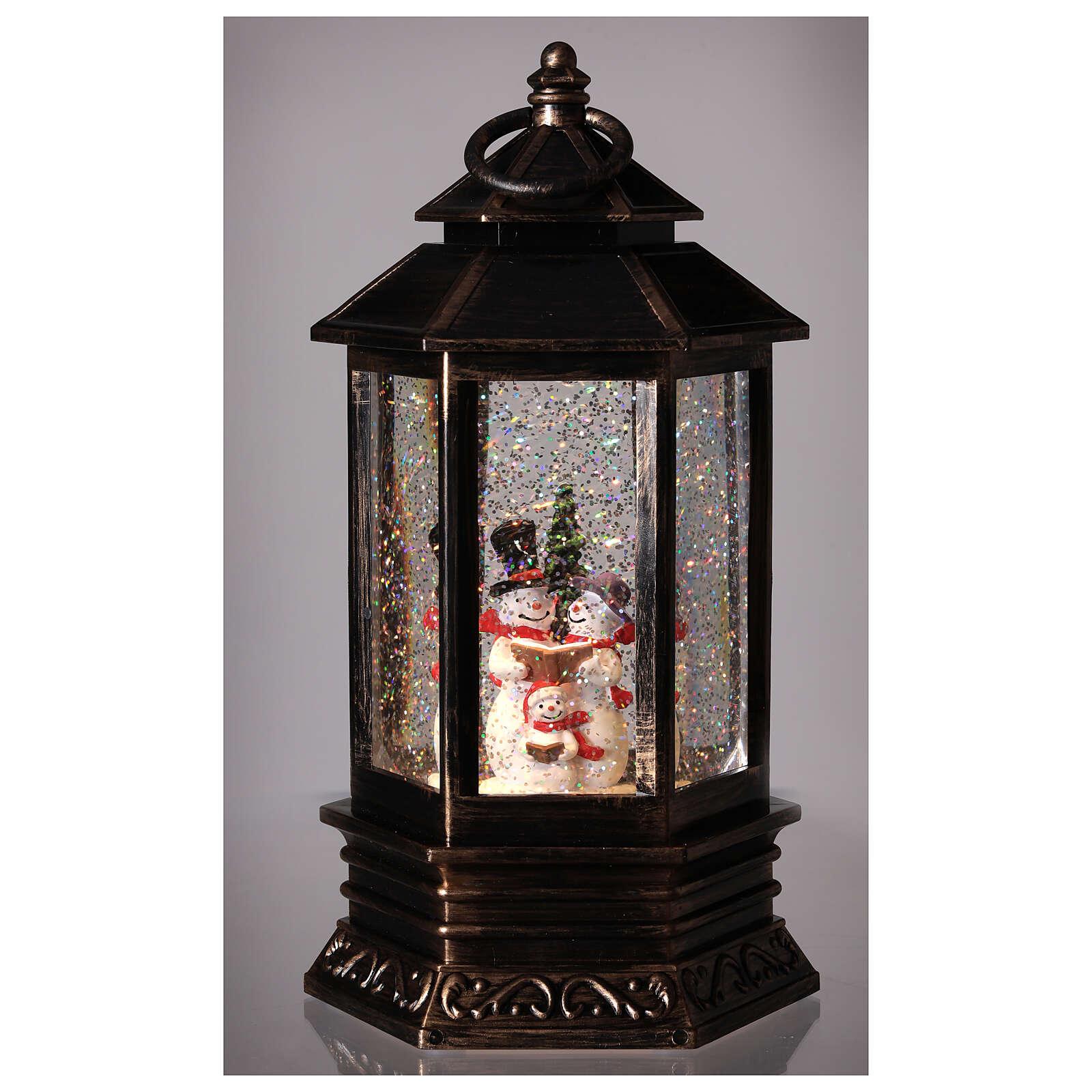 Palla di vetro neve lanterna bronzo pupazzo di neve 25x15x15 cm 3