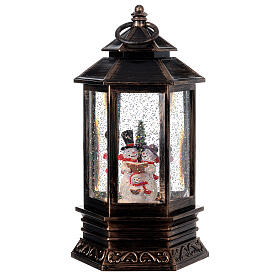 Palla di vetro neve lanterna bronzo pupazzo di neve 25x15x15 cm s1