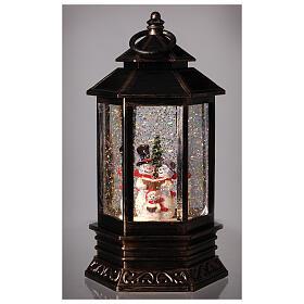 Palla di vetro neve lanterna bronzo pupazzo di neve 25x15x15 cm s2