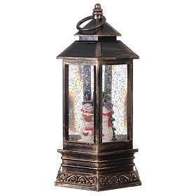 Palla di vetro neve lanterna bronzo pupazzo di neve 25x15x15 cm s3