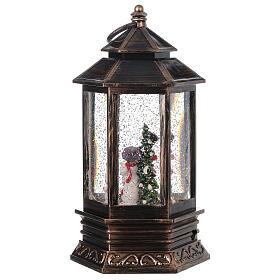 Palla di vetro neve lanterna bronzo pupazzo di neve 25x15x15 cm s5