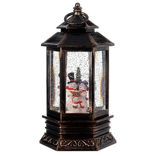Palla di vetro neve lanterna bronzo pupazzo di neve 25x15x15 cm 1