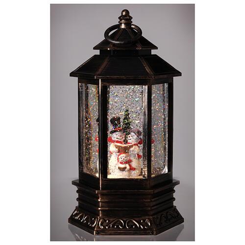 Palla di vetro neve lanterna bronzo pupazzo di neve 25x15x15 cm 2