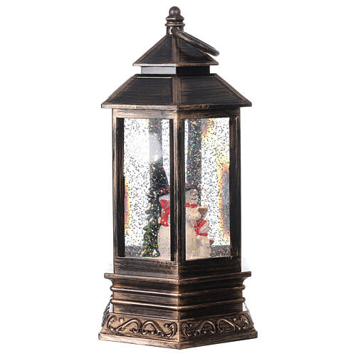 Palla di vetro neve lanterna bronzo pupazzo di neve 25x15x15 cm 4