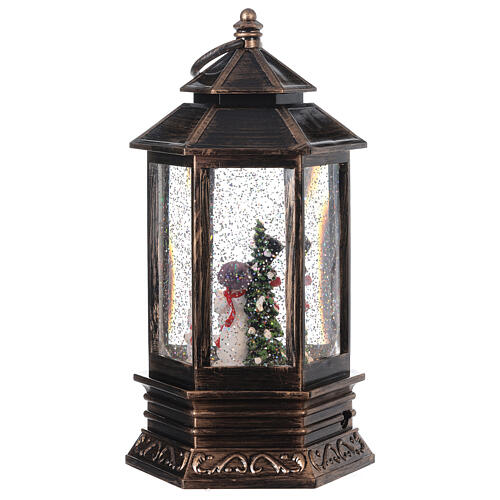 Palla di vetro neve lanterna bronzo pupazzo di neve 25x15x15 cm 5