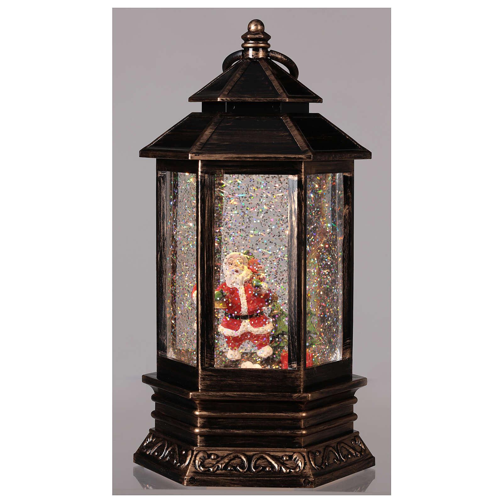 Sfera di vetro neve luce lanterna bronzo 25x15x15 cm 3