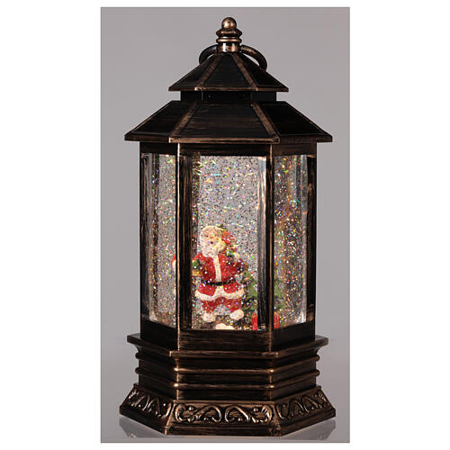 Sfera di vetro neve luce lanterna bronzo 25x15x15 cm 2