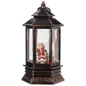 Bronze lantern Santa snow globe 25x15x15 cm s1