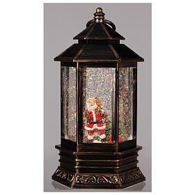 Bronze lantern Santa snow globe 25x15x15 cm s2