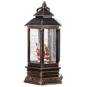 Bronze lantern Santa snow globe 25x15x15 cm s4
