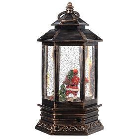 Bronze lantern Santa snow globe 25x15x15 cm s5