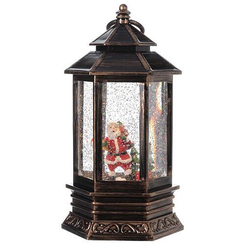 Bronze lantern Santa snow globe 25x15x15 cm 1