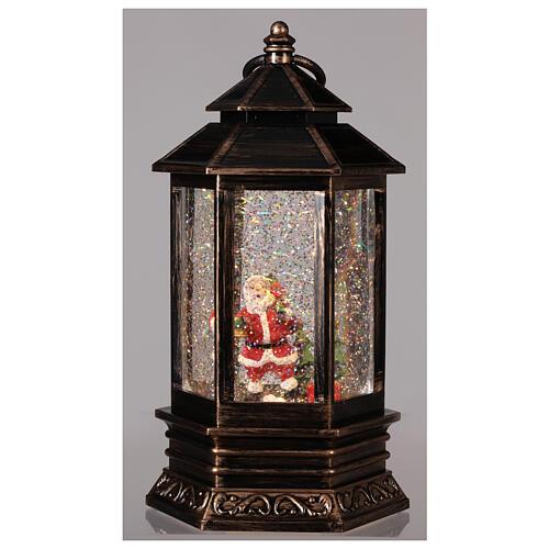 Bronze lantern Santa snow globe 25x15x15 cm 2