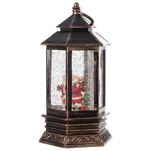 Bronze lantern Santa snow globe 25x15x15 cm 3