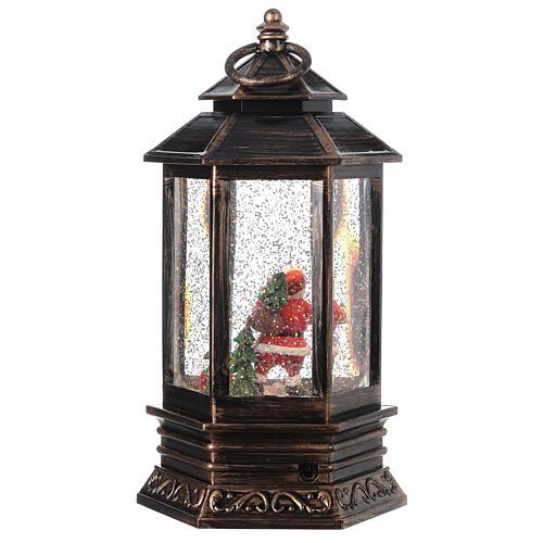 Bronze lantern Santa snow globe 25x15x15 cm 5