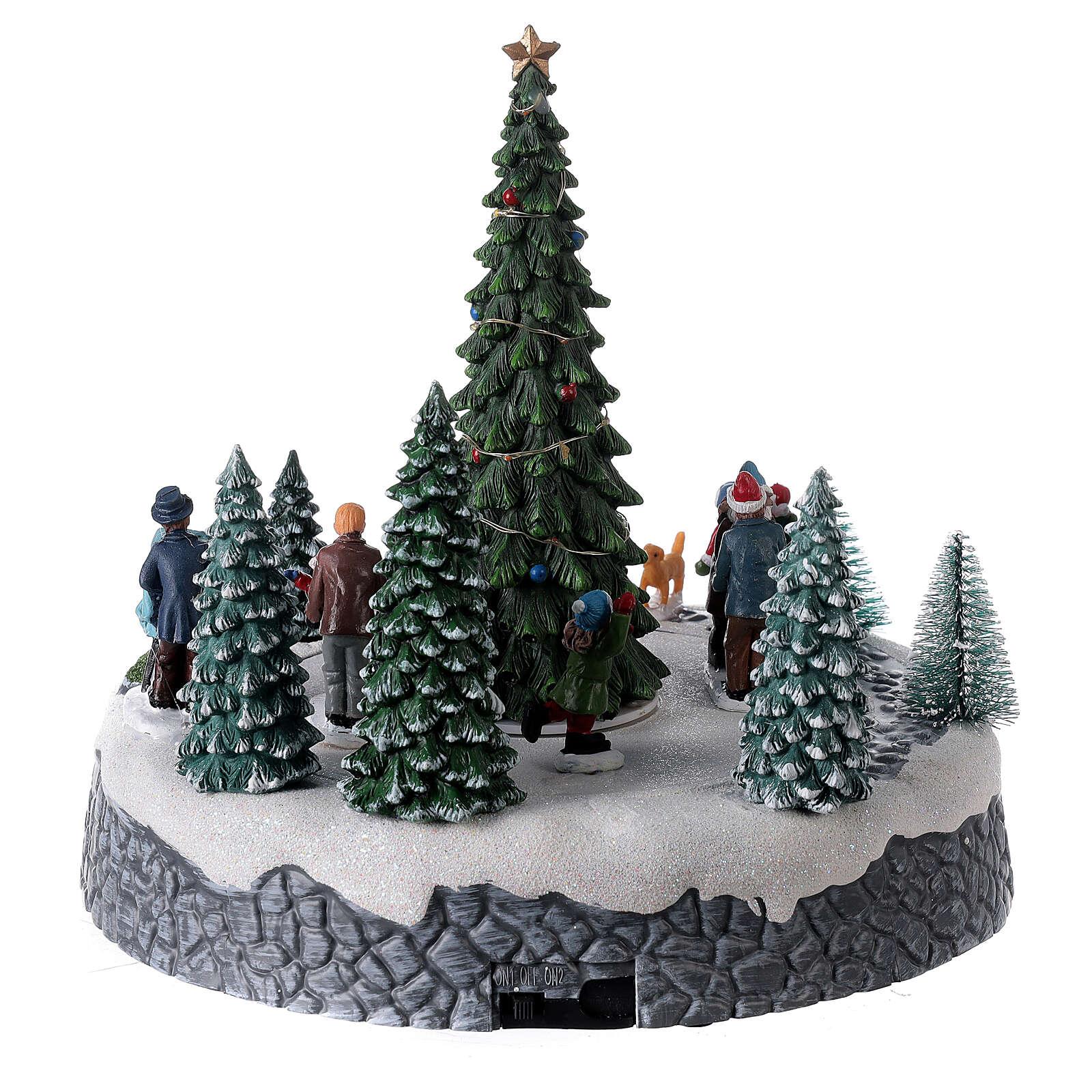 Villaggio luminoso pattinatori albero Natale LED musica 25x20x20 3