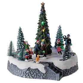 Villaggio luminoso pattinatori albero Natale LED musica 25x20x20 s4